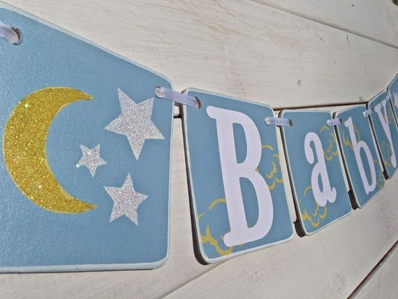 baby shower banner moon and stars baby boy banner nursery