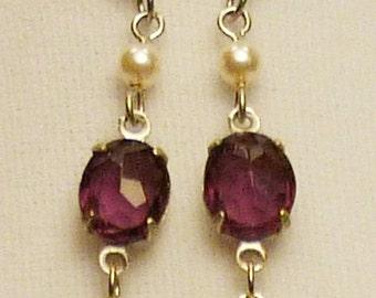 Victorian Steampunk purple amethyst earrings E061