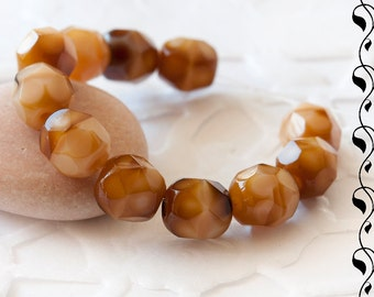 Czech Fire Polished Beads 6 mm Brown-Beige 20 pcs.
