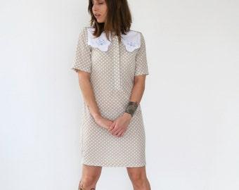 Clearance SALE / Tan with white polka dots dress, Scallop collar dress, Shift dress