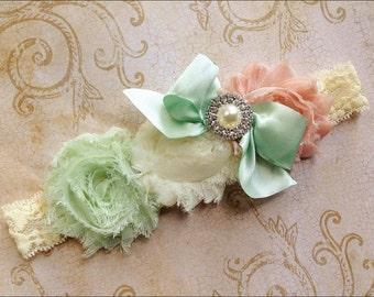 Mint Green vintage pink and ivory chiffon headband- vintage inspired- flower girl headband- newborn -infant -girl headband-photo prop