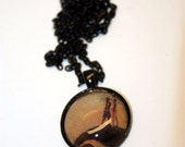 Clearance - Jack and Sally True Love Inspired Glass Pendant Necklace - Aull About You