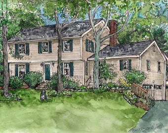 Custom House Portrait - Pen and Ink and Watercolor, Original Home Portrait, Your Home Painted,Commissioned Hand-painted art