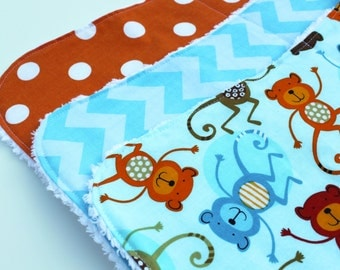 Contoured Chenille Baby Burp Cloths - Burp Rag Set - GENDER NEUTRAL - Monkeys, Orange Polka Dots, Light Blue Chevron - New Baby Gift