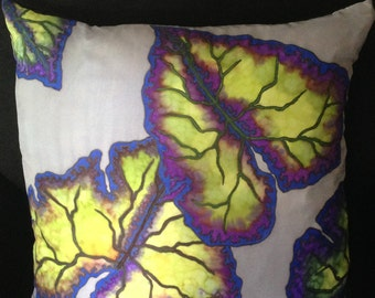 "Hand Painted Silk Decorative Pillow - ""In The Blues"""
