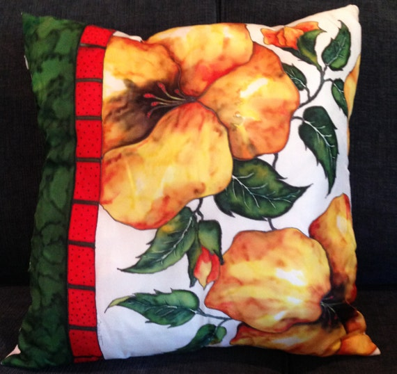 YELLOW HYBISCUS - Hand Painted Silk Decorative Pillow