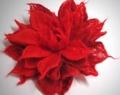 felted red flower