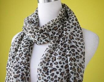 Cheetah print scarf chiffon scarf animal print scarf leopard print scarf