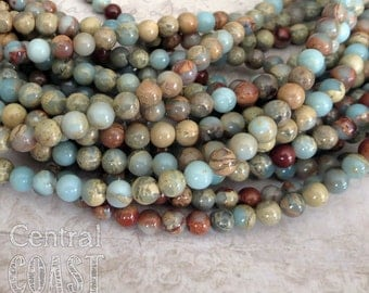 "6mm Aqua Terra Impression Jasper Smooth Round Beads - Earthy Rustic Boho - 16"" strand - 67 beads - Central Coast Charms"