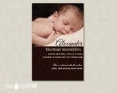 Vintage Chocolate Brown Adoption/Birth Announcement, Baby Shower Party Invitation