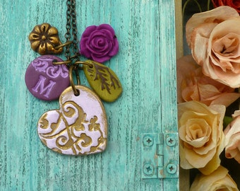 Personalized Heart Jewelry, Heart Necklace, Letter, Custom Letter Necklace, Mommy gift, New Baby gift for Mom, Purple, Gold, Lace Inspired