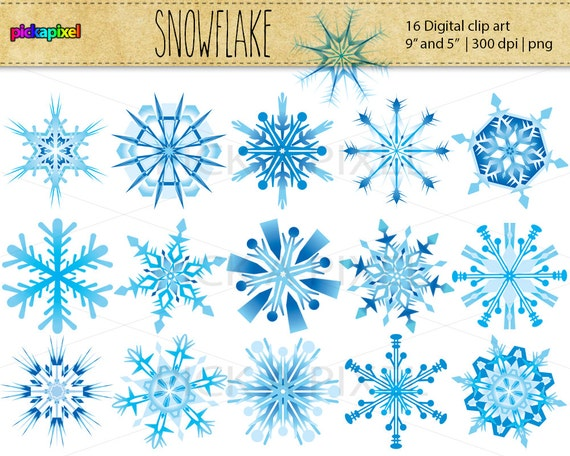 Snowflake - digital clip art - Personal and Commercial Use, 16 elements in two size: 9 inch and 5 inch diameter