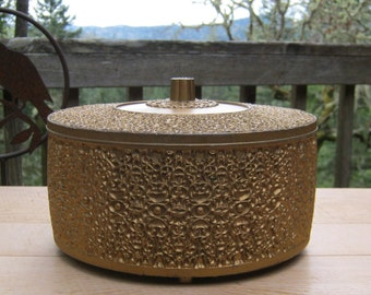 Round Storage Sewing Button Box in Gold Plastic - Creative Containers Corperation - Oak Hill Vintage