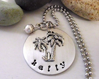 Personalized Jewelry, Personalized Necklace, Hand Stamped Jewelry, PalmTree Necklace, Palm Tree Jewelry