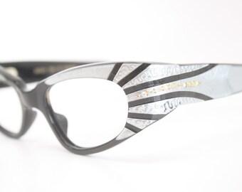 Small Blue Wrap Rhinestone cat eye glasses vintage cateye frames eyeglasses