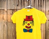 "Bizarre Vintage 1984 Clown Bible Camp T-Shirt: Odd, Blue, Yellow & Red Deadstock, Size XS / S, ""Vacation Bible School, Share the Good News"""
