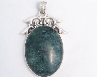 Huge 925 sterling silver green agate cabochon stone w/ bead and arched setting pendant / slide