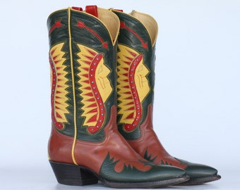 Beautiful, Rocket Buster, Indian Chief cutout, leather ladies cowboy boots 9 B