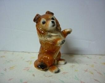 1950's Kitsch Figurine Collie Dog knick knack knickknack Collie Dog Vintage Lassie