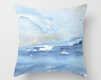 Decorative Pillow Cover - Ocean Wave Painting - Throw Pillow Cushion - Home Decor