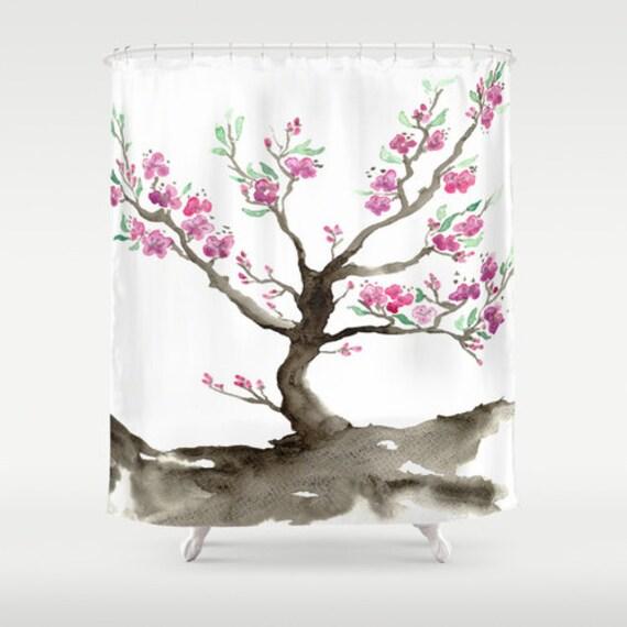 Cherry blossom shower curtain fine art sakura painting artistic