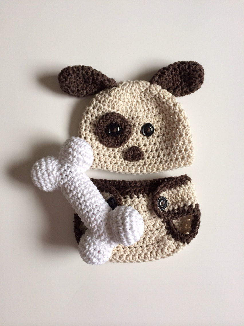 Crochet Dog Hat And Diaper Cover Pattern : Newborn puppy hat and diaper cover crochet puppy by ...