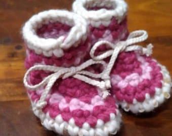 Striped Crocheted Baby Slipper with Sheepskin Sole