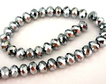 16 TINY silver metallic 6mm beads, Chinese crystal, 6mm x 4mm