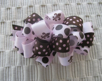 2599 pink and brown  loopy hair bow