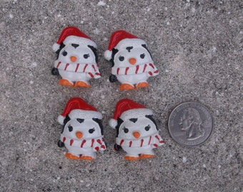 Christmas Penguin Flatback Cabochon - Set of 4