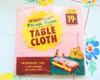 Paper TABLE CLOTH. NOS Tablecloth. New in Package. 1950s Tablecloth. 1960s Tablecloth. unused tablecloth. 7 feet x 40 inches. party idea