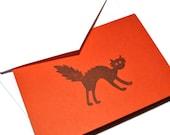 Burnt Orange Halloween Cat Spooky Notecard Set of 6 Cards
