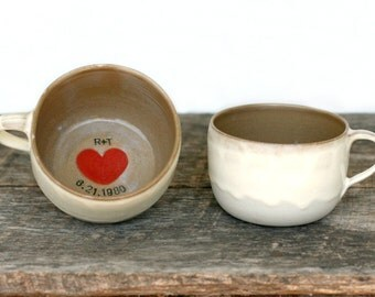 Personalized Cup of Love Latte Mugs with Initials & Wedding Date- Set of TWO