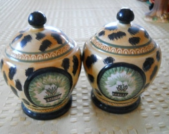 Leopard Print with Plant Design Salt and Pepper Shakers - Vintage, Collectible, Rare