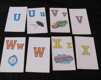 Set of 2 Vintage Picture Flash Cards - Choice of U V X W