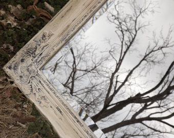 French Country ,Wall Mirror , Shabby Chic, Distressed ,  Extra Large 42 x 30, Buy as Shown or  Choose Color