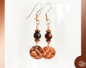 Hooks, 8mm Black Agate, Copper Daisy Spacers, Copper Wire, Copper Disk Dangles Earrings, Choose Surgical Steel or Sterling Silver Ear Wires
