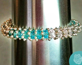 """6.5"""" Tennis Bracelet Rose Pink Turquoise Aquamarine Czech Crystal Rondels Pewter Daisy Spacers Pewter Fancy Bead Caps Silver Magnetic Clasp"""