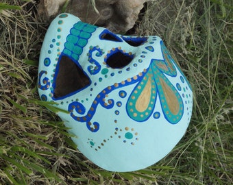 One of a Kind Sugar Skull-- Dia de los Muertos (Day of the Dead) hand-painted skull