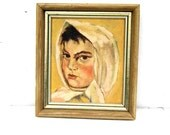 Young Peasant Girl Oil Painting, Mid Century Oil Painting, Vintage Peasant Girl Painting