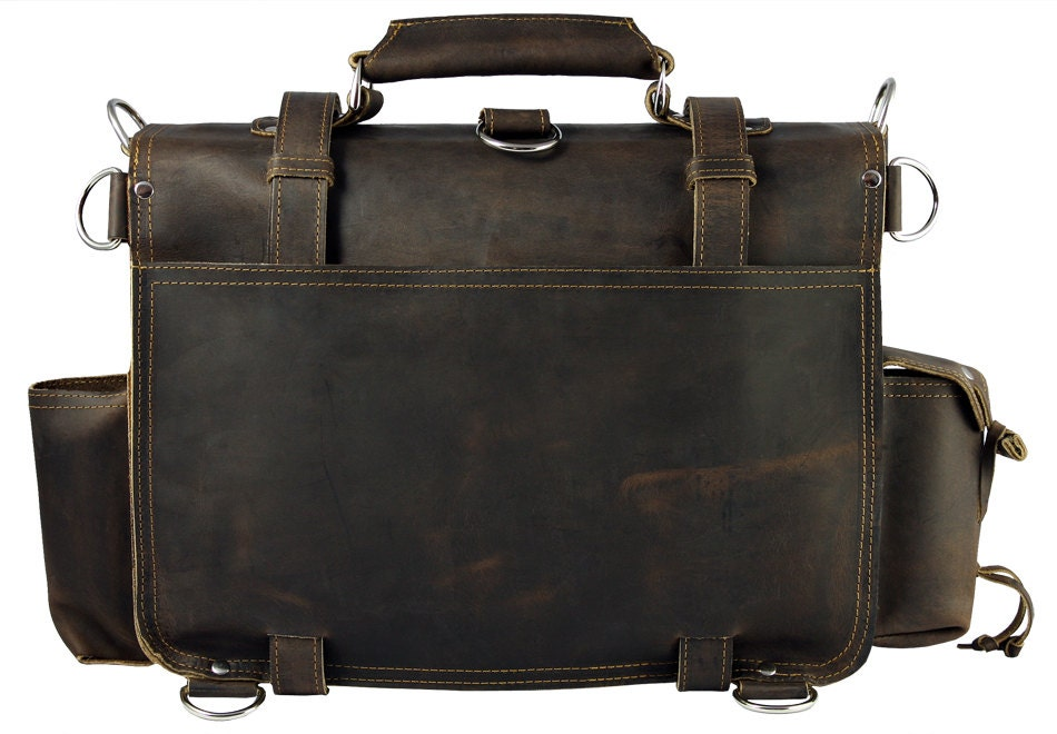 Made In Usa Leather Briefcase Messenger Bag Backpack Large