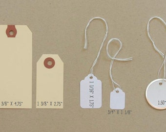 """10  Manila Shipping Gift Hang Tags . 2 3/8"""" x 4 3/4"""" Journaling Spots . Altered Art Gift Wrap Packaging . Labels"""