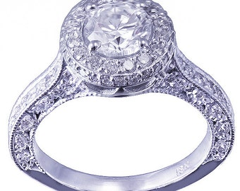 14k white gold round cut forever one moissanite and diamond engagement ring antique deco style 1.65ctw