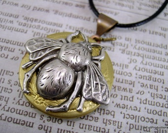 Bee Necklace, Bee Locket, Gift for her, Gift for Beekeeper, Handmade Jewelry