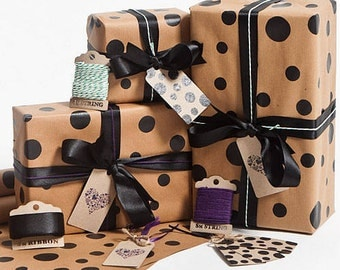 Recycled Black Dotty Gift Wrap
