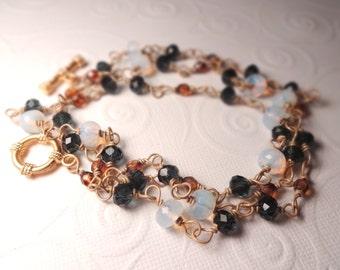Convertible Moonstone Blue Gold Necklace Bracelet