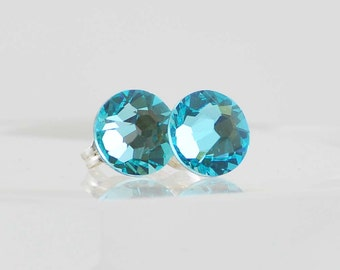 Light Turquoise Swarovski Crystal Stud Earrings, Bright Blue Fashion Post Earrings, Sterling Silver Crystal Earrings, Sparkly Faceted Studs