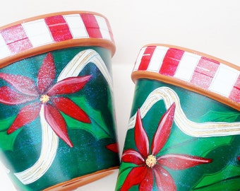 "Hand Painted Pot 6 Inch ""Holiday Sparkle"" Made to Order"
