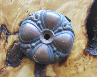 Old Copper Applique Steampunk Assemblage Pendant Focal Supply