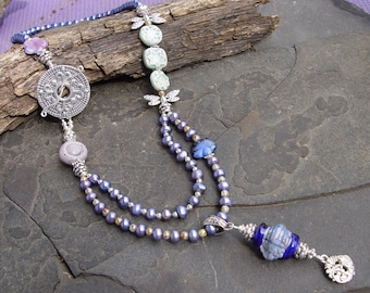 Shades of Blue, Purple, Pink w/ Stoneware, Lampwork Czech Glass, Freshwater Pearls Necklace and Earrings Set